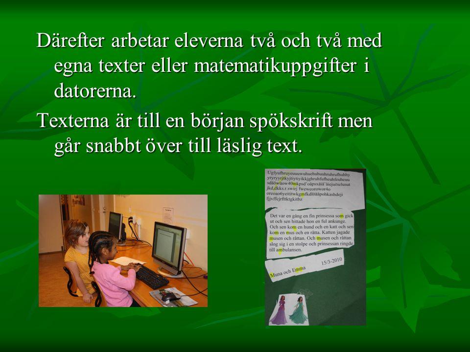 Därefter arbetar eleverna två och två med egna texter eller matematikuppgifter i datorerna.
