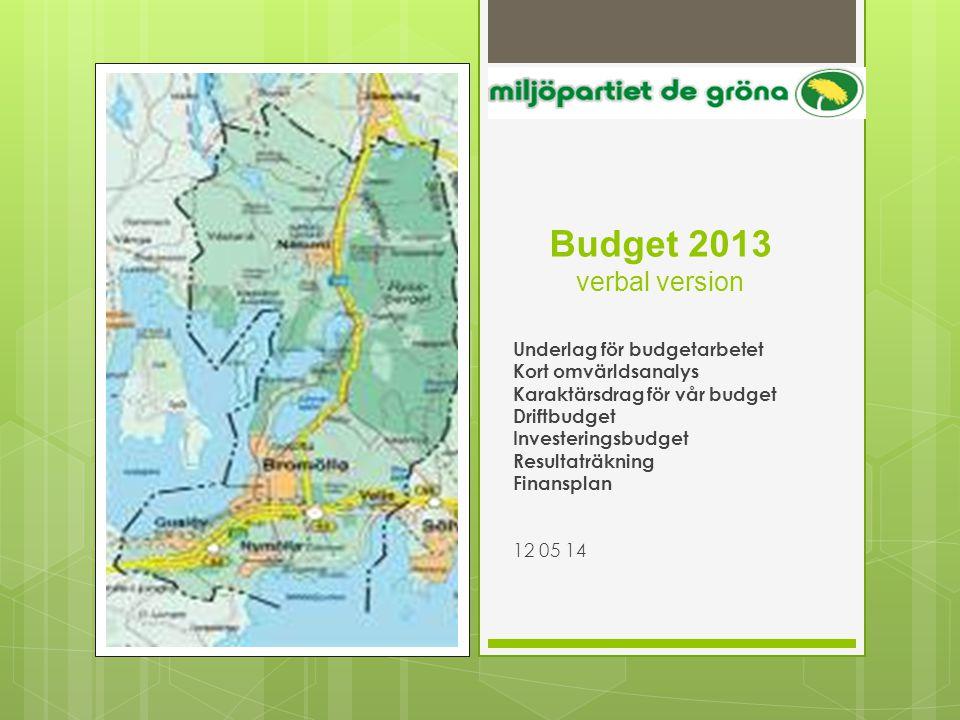 Budget 2013 verbal version Underlag för budgetarbetet Kort omvärldsanalys Karaktärsdrag för vår budget Driftbudget Investeringsbudget Resultaträkning