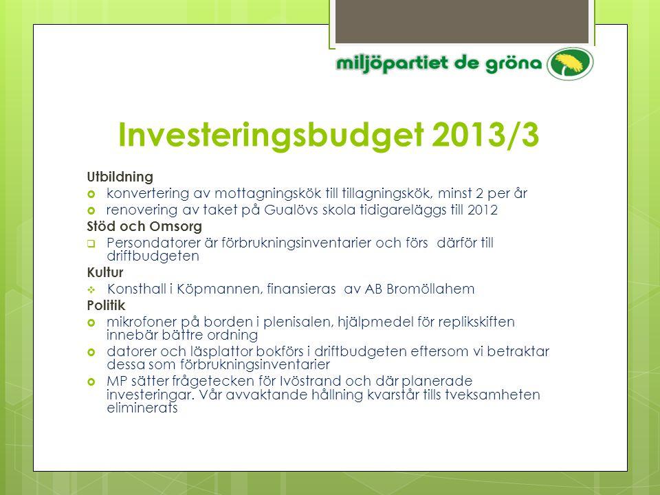 Investeringsbudget 2013/3 Utbildning  konvertering av mottagningskök till tillagningskök, minst 2 per år  renovering av taket på Gualövs skola tidig