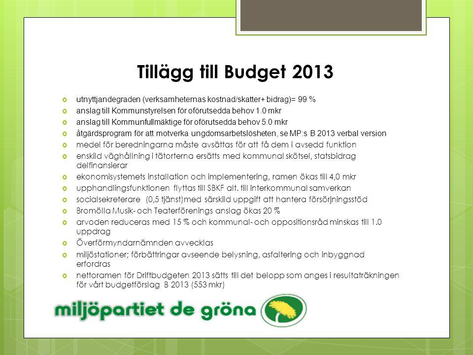 Tillägg till Budget 2013  utnyttjandegraden (verksamheternas kostnad/skatter+ bidrag)= 99 %  anslag till Kommunstyrelsen för oförutsedda behov 1.0 m