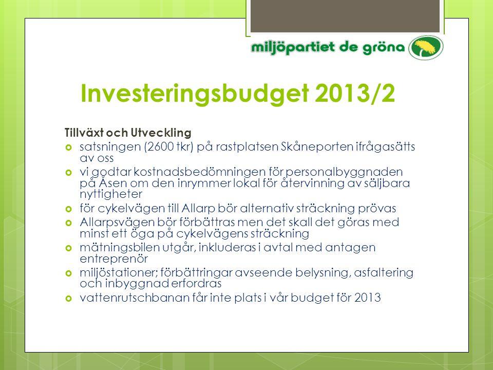 Investeringsbudget 2013/2 Tillväxt och Utveckling  satsningen (2600 tkr) på rastplatsen Skåneporten ifrågasätts av oss  vi godtar kostnadsbedömninge