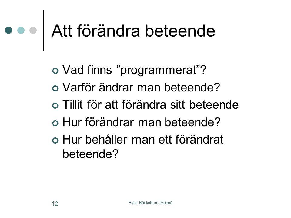 """Hans Bäckström, Malmö 12 Att förändra beteende Vad finns """"programmerat""""? Varför ändrar man beteende? Tillit för att förändra sitt beteende Hur förändr"""