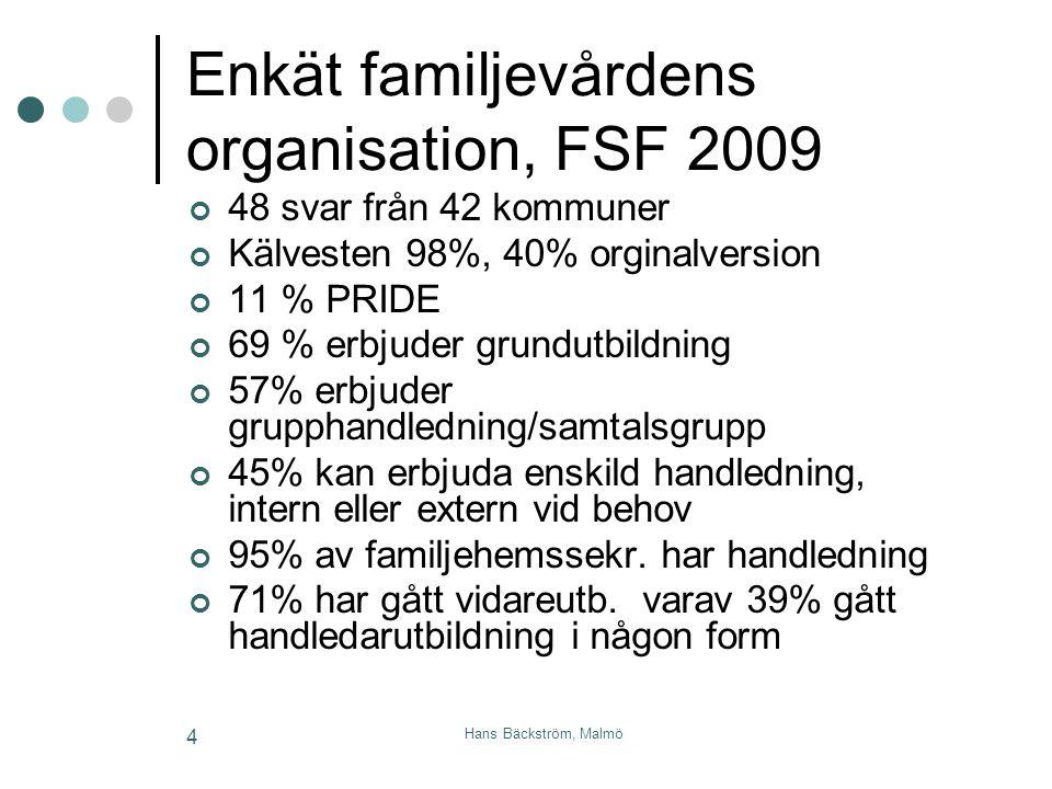 Hans Bäckström, Malmö 4 Enkät familjevårdens organisation, FSF 2009 48 svar från 42 kommuner Kälvesten 98%, 40% orginalversion 11 % PRIDE 69 % erbjude