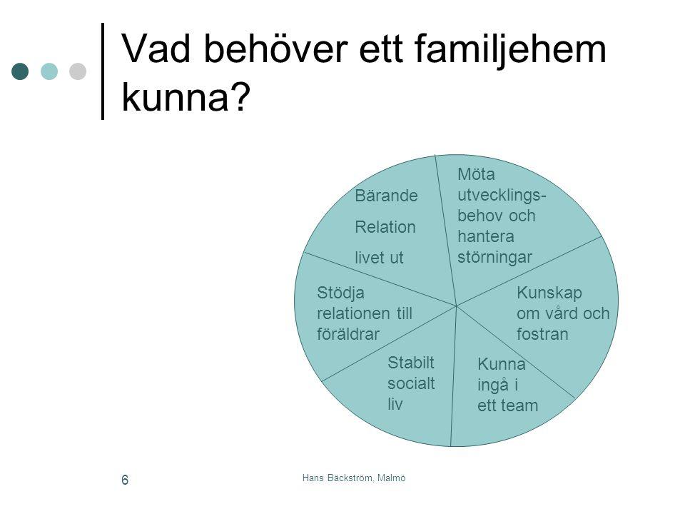 Hans Bäckström, Malmö 6 Vad behöver ett familjehem kunna? Bärande Relation livet ut Möta utvecklings- behov och hantera störningar Stödja relationen t
