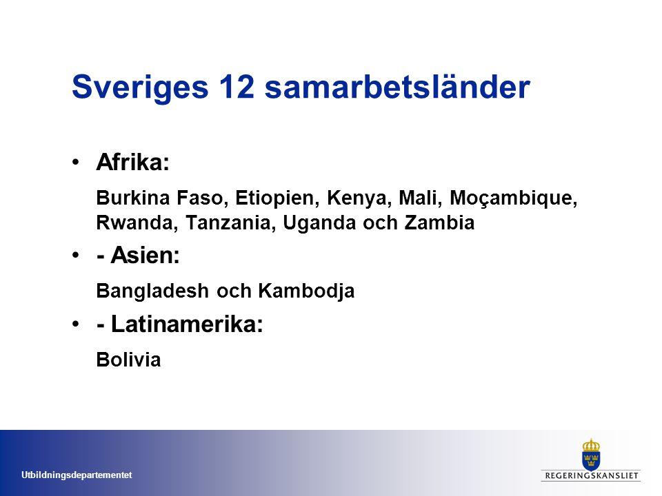 Utbildningsdepartementet Sveriges 12 samarbetsländer •Afrika: Burkina Faso, Etiopien, Kenya, Mali, Moçambique, Rwanda, Tanzania, Uganda och Zambia •-