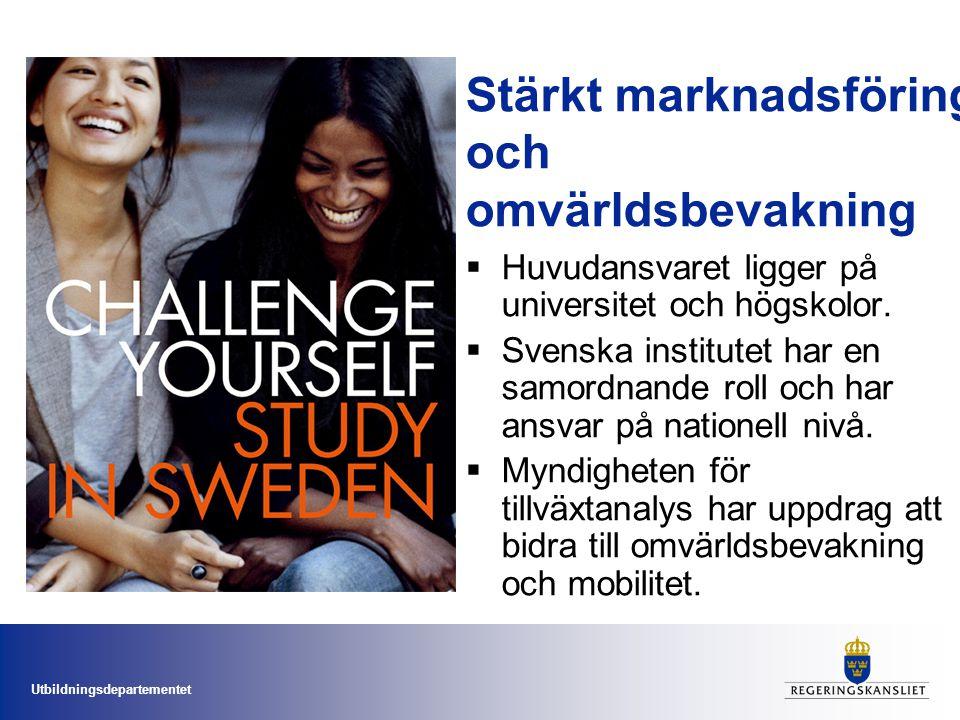 Utbildningsdepartementet Stärkt marknadsföring och omvärldsbevakning  Huvudansvaret ligger på universitet och högskolor.  Svenska institutet har en