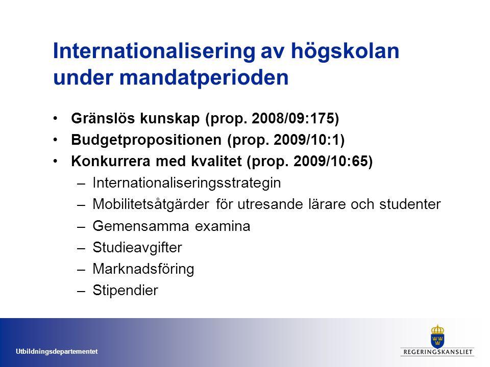 Utbildningsdepartementet Studieavgifter •Kraftigt ökat antal studenter i dagens system •Svenska lärosäten har genom avgiftsfriheten haft stora konkurrensfördelar •En global utbildningsmarknad •Ökad integration mellan politikområden