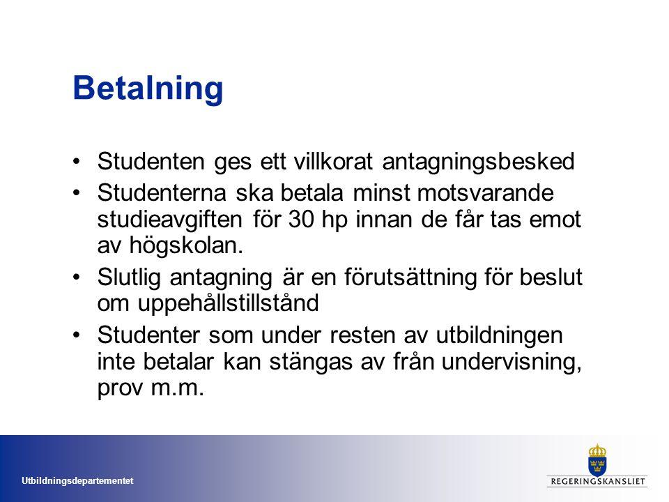 Utbildningsdepartementet Två stipendiesystem införs  Det är viktigt att det även i fortsättningen kommer utländska studenter till Sverige.