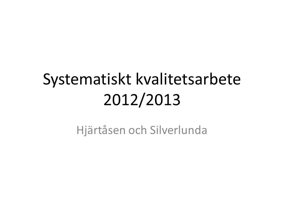 Systematiskt kvalitetsarbete 2012/2013 Hjärtåsen och Silverlunda