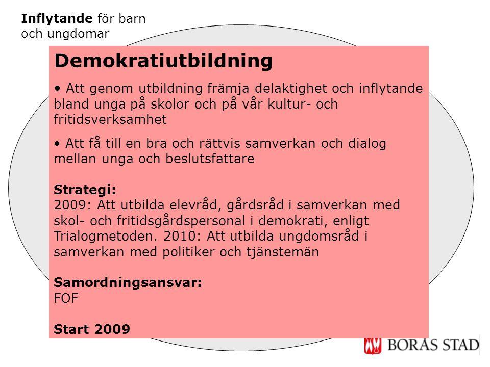 Former för besluts- fattande Demokrati- utbildning Inflytande för barn och ungdomar Utbildning i barnkonven- tionen Implementeringsinsatser Demokratiu