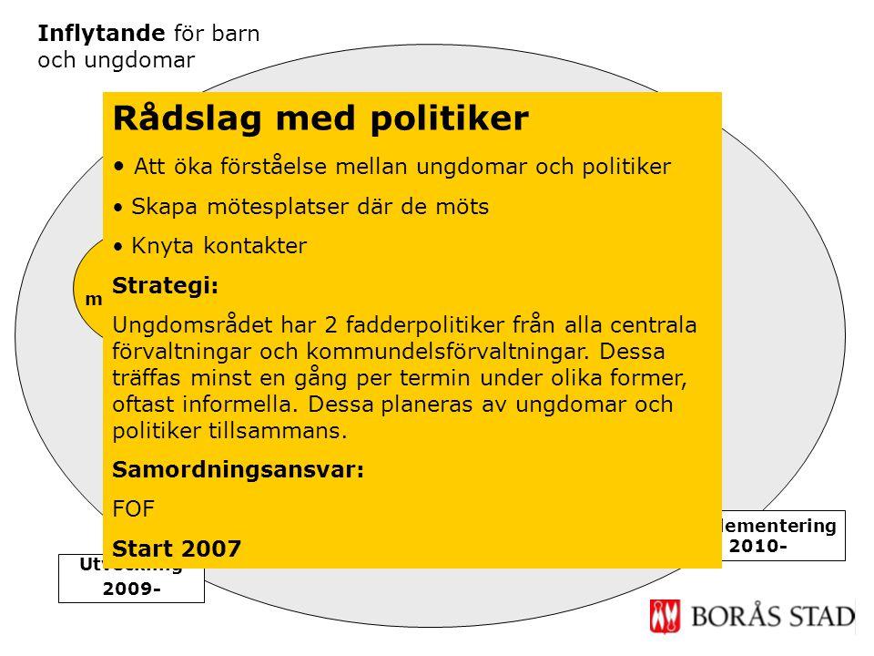 Rådslag med politiker Ungdoms- fullmäktige Inflytande för barn och ungdomar Implementering 2010- Utveckling 2009- Dialog unga & vuxna Rådslag med poli