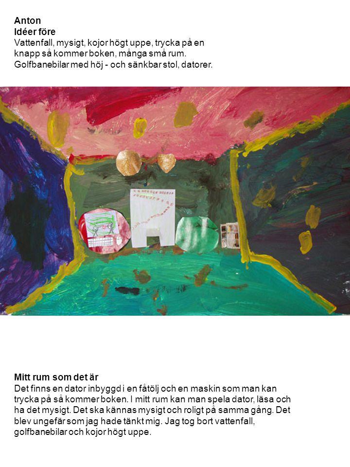 Anton Idéer före Vattenfall, mysigt, kojor högt uppe, trycka på en knapp så kommer boken, många små rum. Golfbanebilar med höj - och sänkbar stol, dat