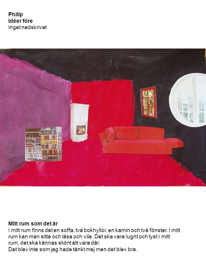 Philip Idéer före Inget nedskrivet Mitt rum som det är I mitt rum finns det en soffa, två bokhyllor, en kamin och två fönster. I mitt rum kan man sitt