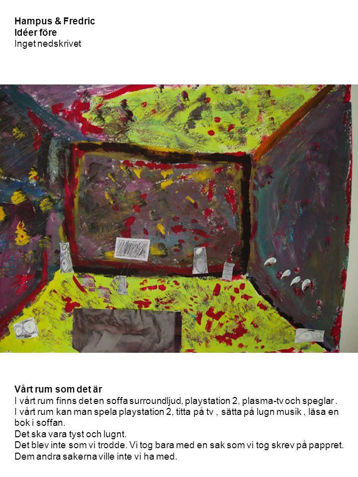 Hampus & Fredric Idéer före Inget nedskrivet Vårt rum som det är I vårt rum finns det en soffa surroundljud, playstation 2, plasma-tv och speglar. I v