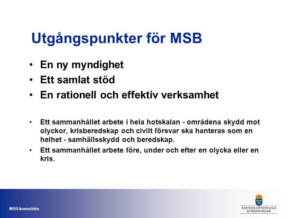 MSB-kommittén Utgångspunkter för MSB •En ny myndighet •Ett samlat stöd •En rationell och effektiv verksamhet •Ett sammanhållet arbete i hela hotskalan