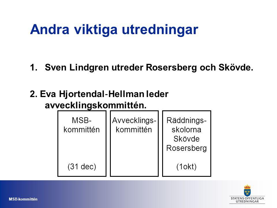 MSB-kommittén Andra viktiga utredningar 1.Sven Lindgren utreder Rosersberg och Skövde. 2. Eva Hjortendal ‐ Hellman leder avvecklingskommittén. MSB- ko