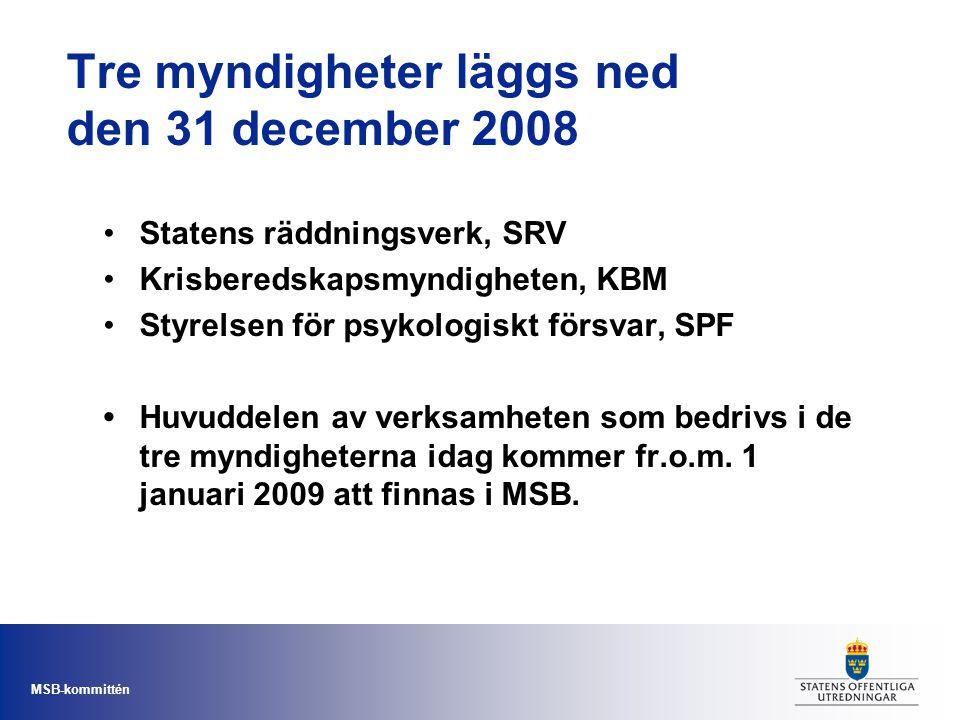 MSB-kommittén Tre myndigheter läggs ned den 31 december 2008 •Statens räddningsverk, SRV •Krisberedskapsmyndigheten, KBM •Styrelsen för psykologiskt f