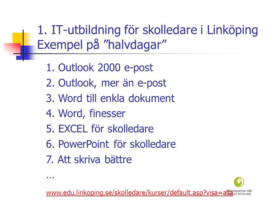 1. IT-utbildning för skolledare i Linköping Exempel på halvdagar 1.
