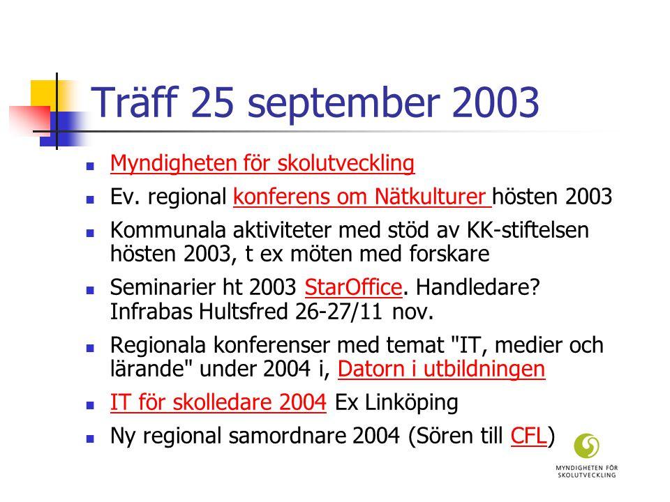 Träff 25 september 2003  Myndigheten för skolutveckling Myndigheten för skolutveckling  Ev.