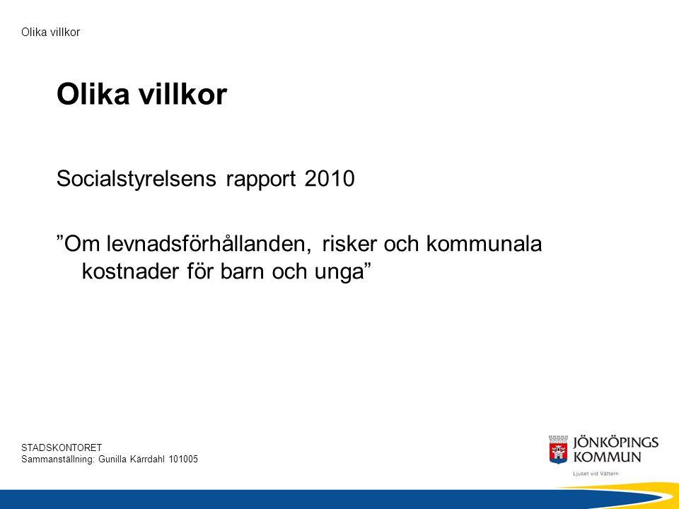 STADSKONTORET Sammanställning: Gunilla Kärrdahl 101005 Olika villkor Sammanfattning och slutsatser  Förekomsten av ofärd och risker för barn och unga varierar kraftigt mellan kommunerna.