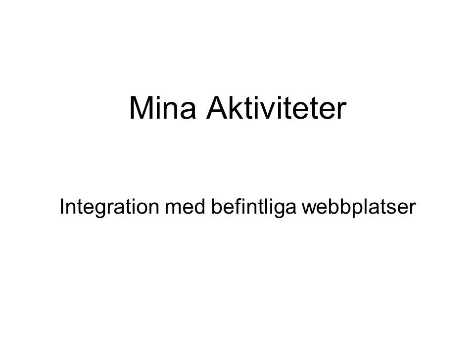 Mina Aktiviteter Integration med befintliga webbplatser