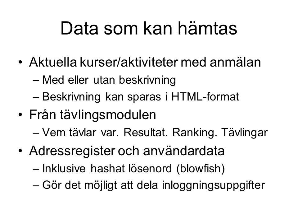 Tekniker för att hämta data •Länka till Mina Aktiviteter –Länkar finns att hämta i admindelen •Visa hel HTML-sida i frame eller iframe •Hämta HTML DIV-block med server-script –PHP, JSP, ASP mm •Hämta och visa data med javascript (Ajax) •Utbyta data via XML med egna lösningar –Eget lösenord för icke-publik data