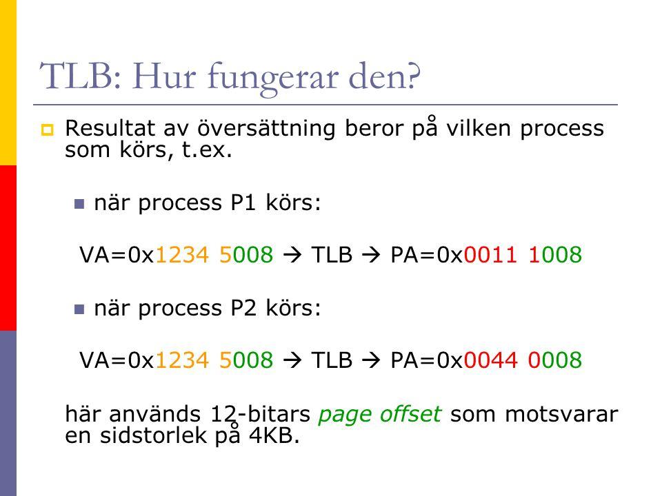 Instruction Fetch  Om vi har en I-TLB träff samt en I-Cache träff ska en ny instruktion hämtas varje klockcykel PC EntryHi G = Hit ASIDVPNPFNCDV VPN [31:12] ASID [7:0] Page offset [11:0] PFN [31:12] IPA MMU Clk to CPU Exception to CPU Clk C, D, V IVA [31:0] I-TLB