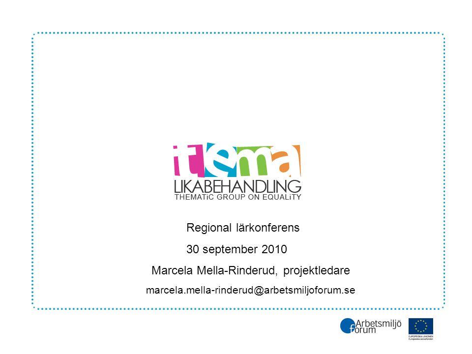 Regional lärkonferens 30 september 2010 Marcela Mella-Rinderud, projektledare marcela.mella-rinderud@arbetsmiljoforum.se