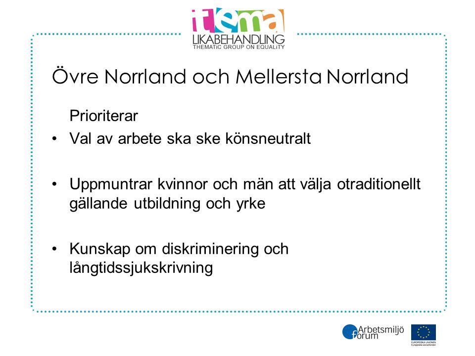 Övre Norrland och Mellersta Norrland Prioriterar •Val av arbete ska ske könsneutralt •Uppmuntrar kvinnor och män att välja otraditionellt gällande utbildning och yrke •Kunskap om diskriminering och långtidssjukskrivning