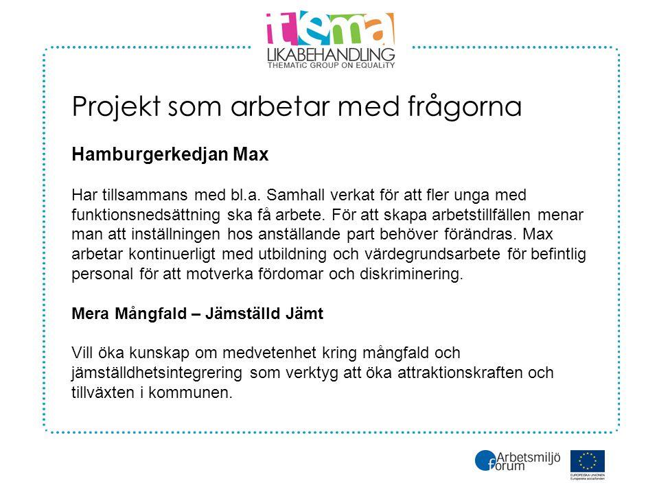 Projekt som arbetar med frågorna Hamburgerkedjan Max Har tillsammans med bl.a.