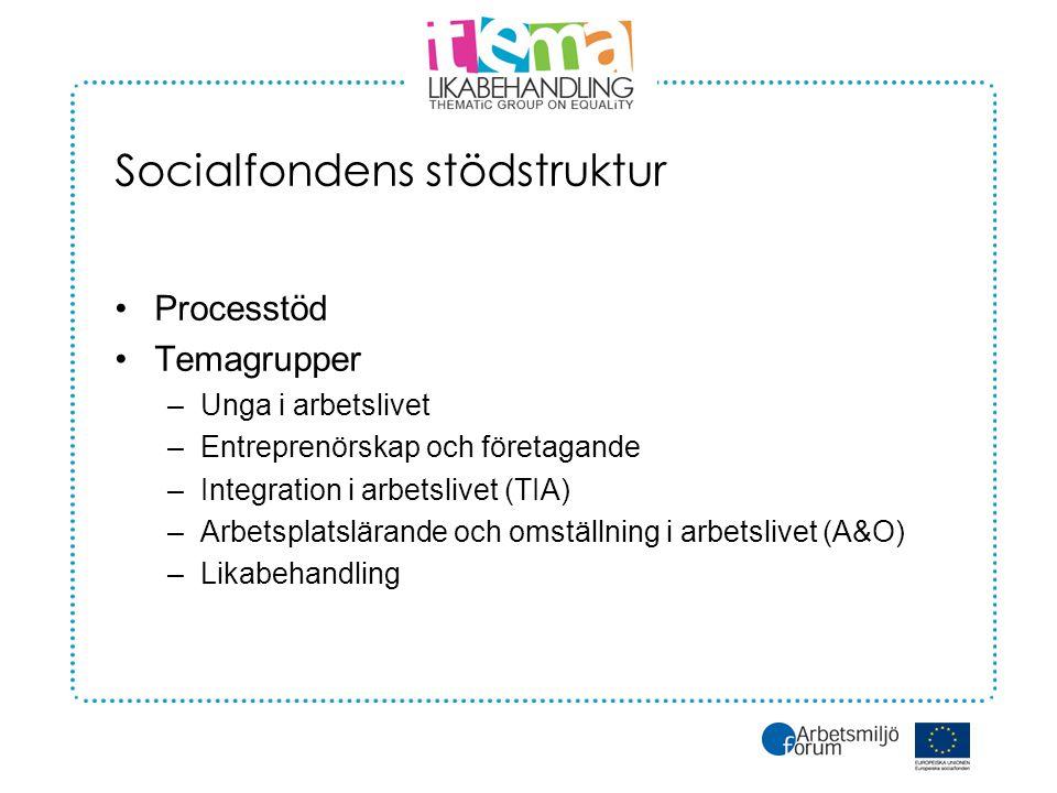 Socialfondens stödstruktur •Processtöd •Temagrupper –Unga i arbetslivet –Entreprenörskap och företagande –Integration i arbetslivet (TIA) –Arbetsplatslärande och omställning i arbetslivet (A&O) –Likabehandling