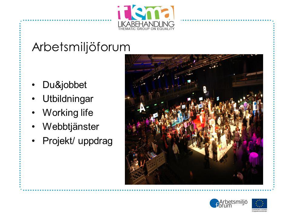 Arbetsmiljöforum •Du&jobbet •Utbildningar •Working life •Webbtjänster •Projekt/ uppdrag