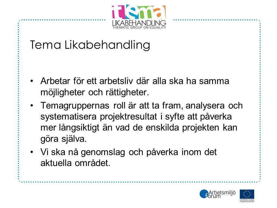 Tema Likabehandling •Arbetar för ett arbetsliv där alla ska ha samma möjligheter och rättigheter.