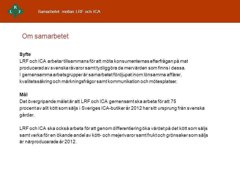 Om samarbetet Syfte LRF och ICA arbetar tillsammans för att möta konsumenternas efterfrågan på mat producerad av svenska råvaror samt tydliggöra de mervärden som finns i dessa.