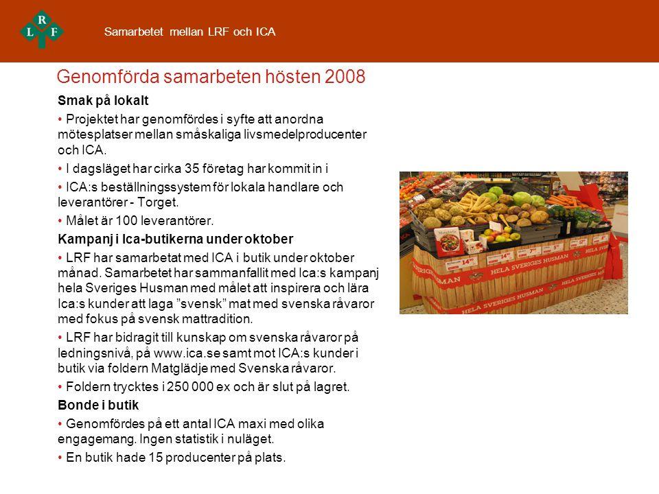 Middagstipset i TV4 - ett samarbetet mellan ICA och LRF v.36 2008 – v.9 2009 Syfte •Inspirera och sprida kunskap om svensk mat och råvarornas ursprung •Öka intresset för det svenska lantbruket •Skapa en historia kring råvarorna, från jord till bord •Koppla ihop recept ur husmankokboken med svenska råvaror, tillsammans med kunder och lokalproducenter under oktober Mål för LRF •Öka kännedom om bondens vardag •Skapa ökad insikt om bondens roll för maten vi äter •Öka kännedom om svenska råvaor och svensk matlagning Resultat •Det har varit mellan 300 000 - 350 000 tittare på Middagstips per vecka under •ICA/LRF-samarbetet.