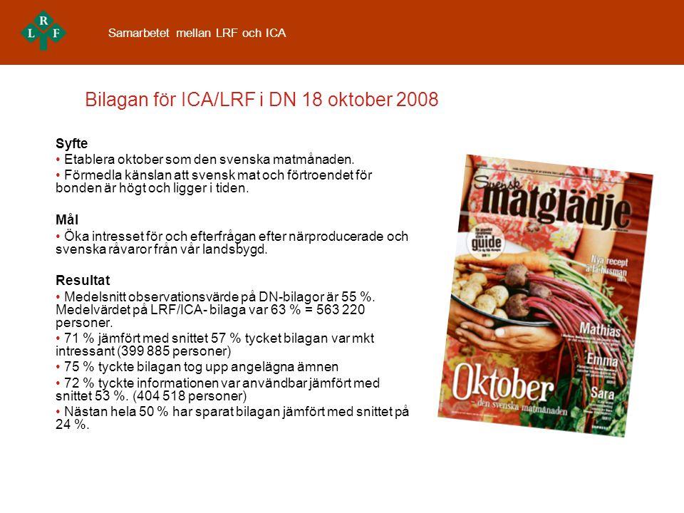 Bilagan för ICA/LRF i DN 18 oktober 2008 Syfte • Etablera oktober som den svenska matmånaden.