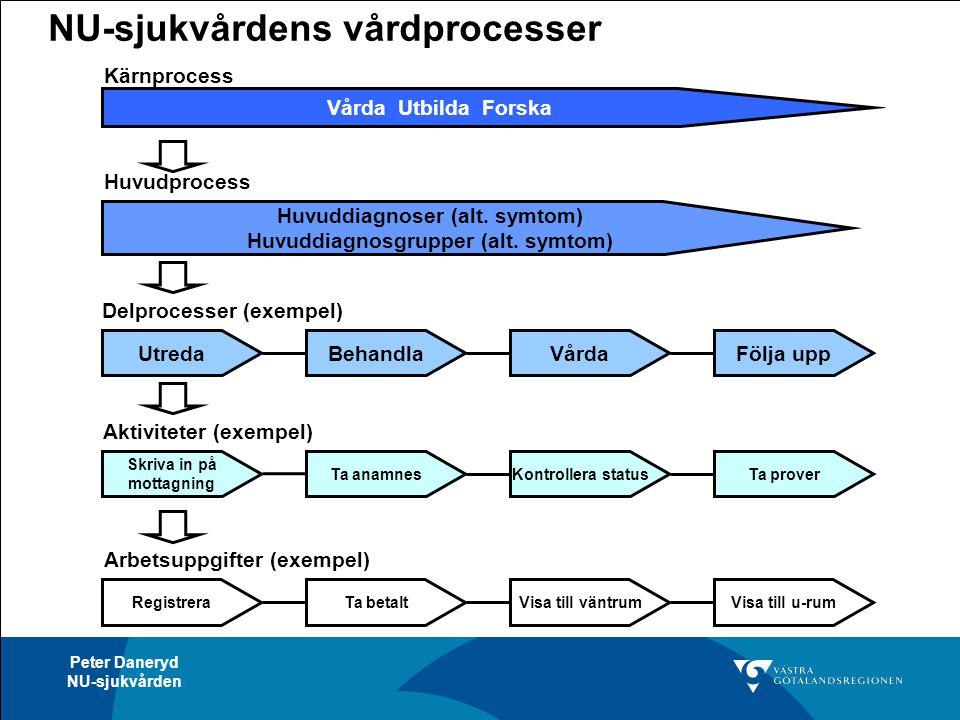 Peter Daneryd NU-sjukvården NU-sjukvårdens vårdprocesser Utreda Huvuddiagnoser (alt. symtom) Huvuddiagnosgrupper (alt. symtom) Huvudprocess Delprocess