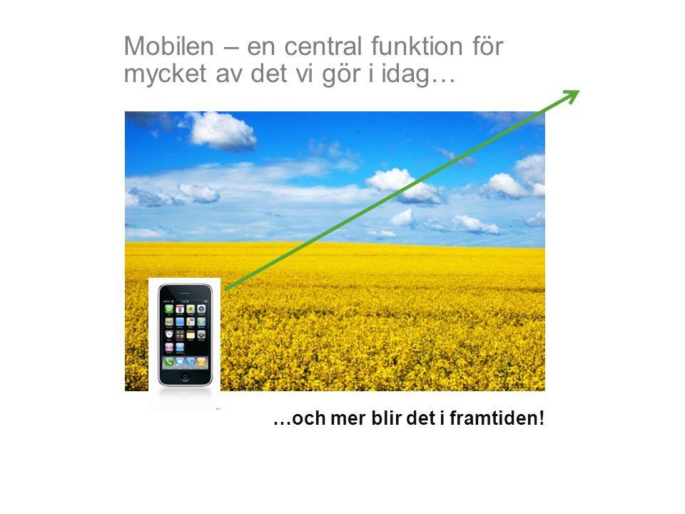 Mobilen – en central funktion för mycket av det vi gör i idag… …och mer blir det i framtiden!