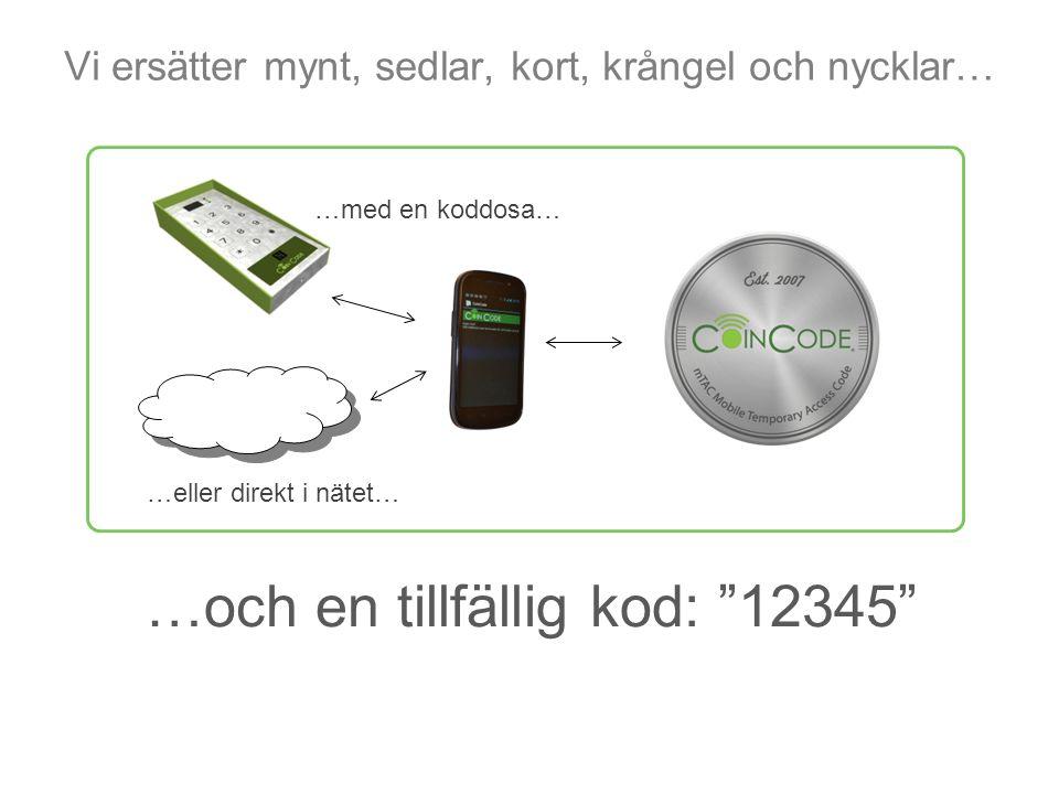 """Vi ersätter mynt, sedlar, kort, krångel och nycklar… …med en koddosa… …eller direkt i nätet… …och en tillfällig kod: """"12345"""""""