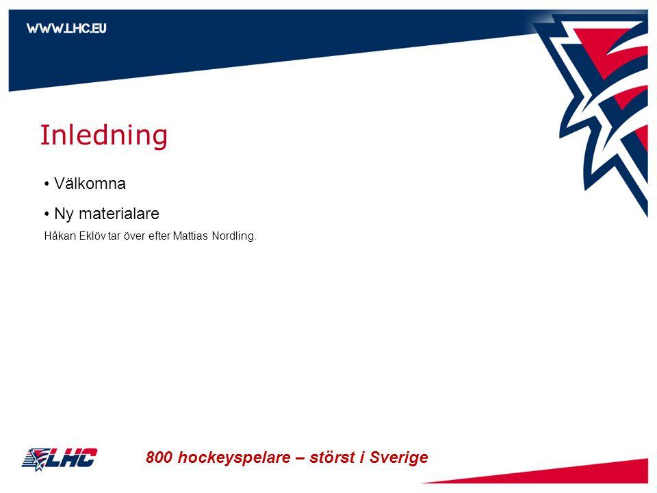 800 hockeyspelare – störst i Sverige Inledning • Välkomna • Ny materialare Håkan Eklöv tar över efter Mattias Nordling.