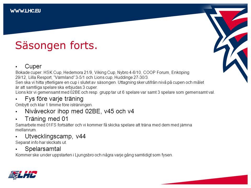 """Säsongen forts. • Cuper Bokade cuper: HSK Cup, Hedemora 21/9, Viking Cup, Nybro 4-6/10, COOP Forum, Enköping 29/12, Lilla Resport, """"Värmland"""" 3-5/1 oc"""