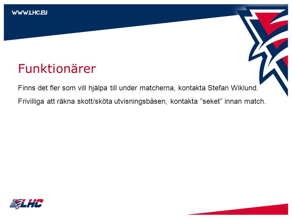 Funktionärer Finns det fler som vill hjälpa till under matcherna, kontakta Stefan Wiklund. Frivilliga att räkna skott/sköta utvisningsbåsen, kontakta