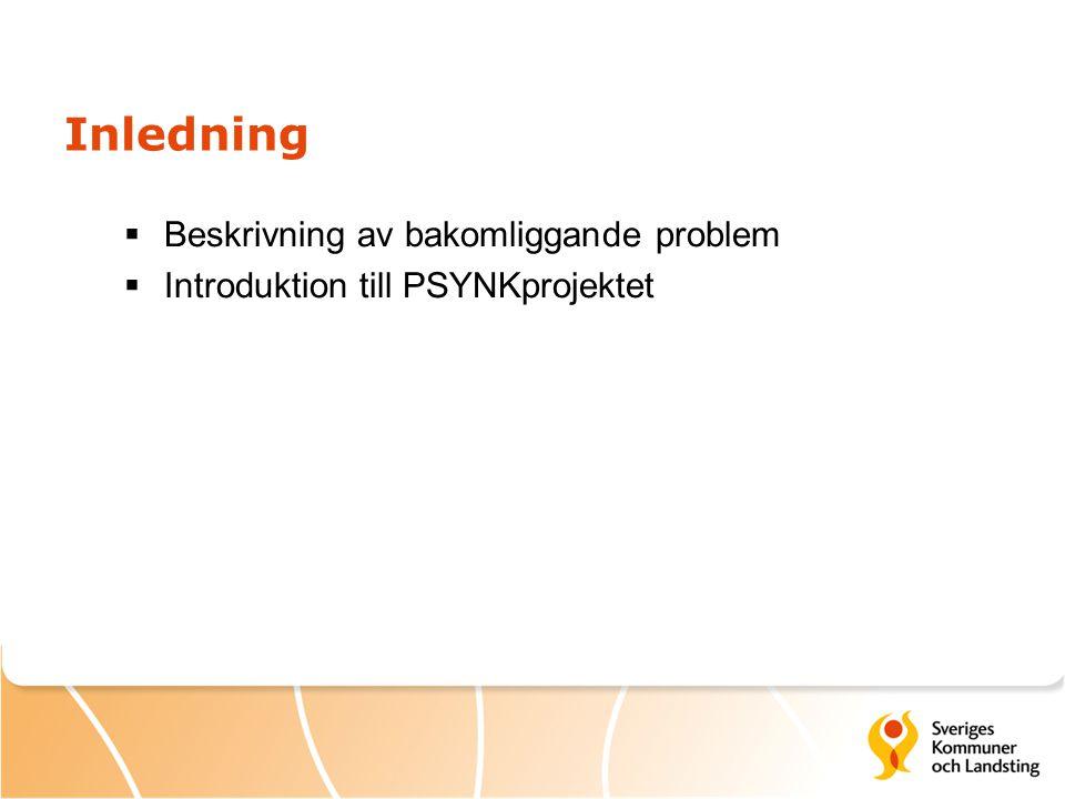 Inledning  Beskrivning av bakomliggande problem  Introduktion till PSYNKprojektet
