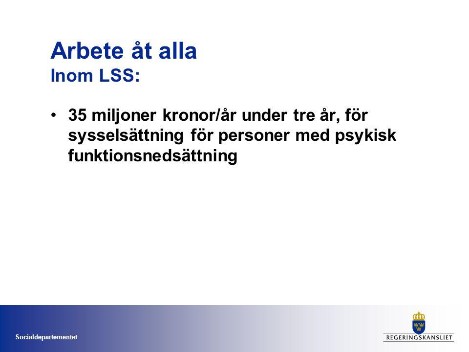 Socialdepartementet Arbete åt alla Inom LSS: •35 miljoner kronor/år under tre år, för sysselsättning för personer med psykisk funktionsnedsättning