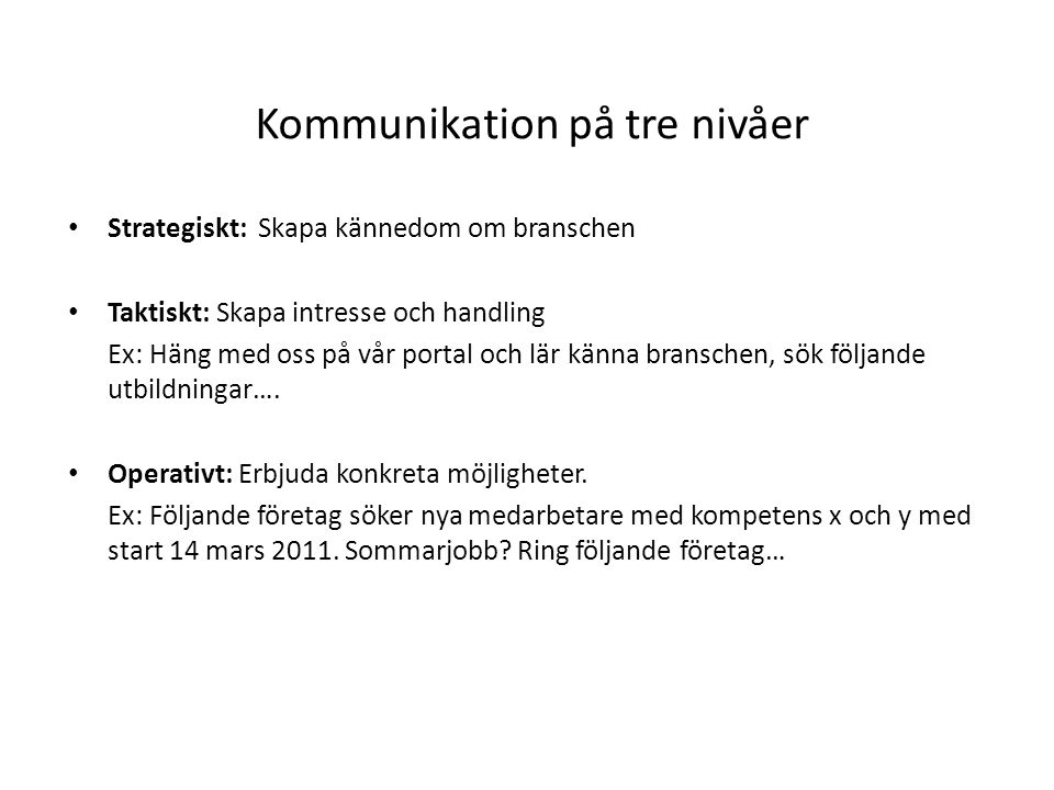 Kommunikation på tre nivåer • Strategiskt: Skapa kännedom om branschen • Taktiskt: Skapa intresse och handling Ex: Häng med oss på vår portal och lär