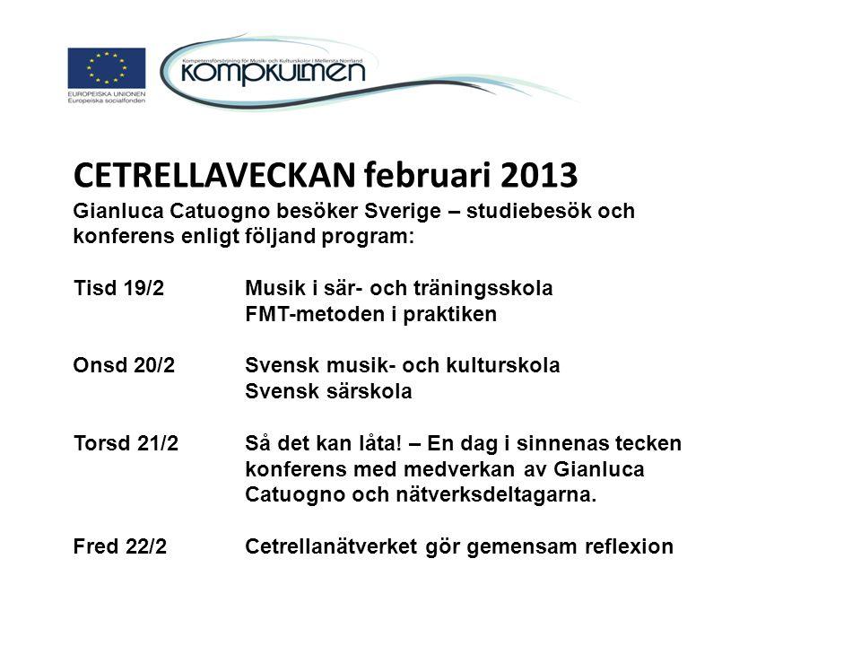 CETRELLAVECKAN februari 2013 Gianluca Catuogno besöker Sverige – studiebesök och konferens enligt följand program: Tisd 19/2 Musik i sär- och tränings