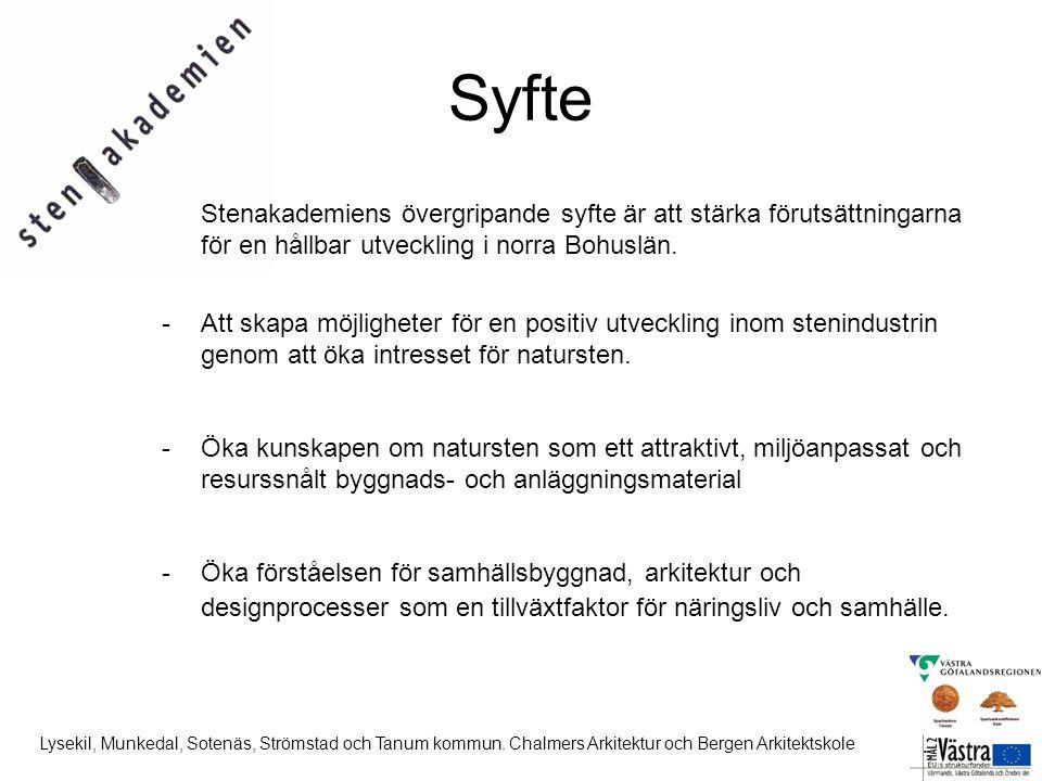 Syfte Stenakademiens övergripande syfte är att stärka förutsättningarna för en hållbar utveckling i norra Bohuslän. -Att skapa möjligheter för en posi