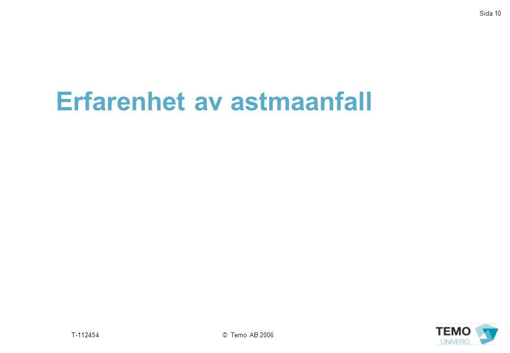 Sida 10 T-112454© Temo AB 2006 Erfarenhet av astmaanfall