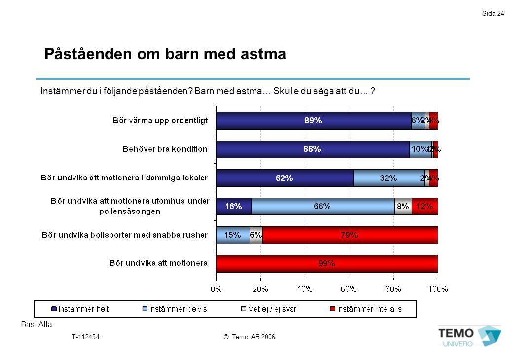Sida 24 T-112454© Temo AB 2006 Påståenden om barn med astma Bas: Alla Instämmer du i följande påståenden? Barn med astma… Skulle du säga att du… ?