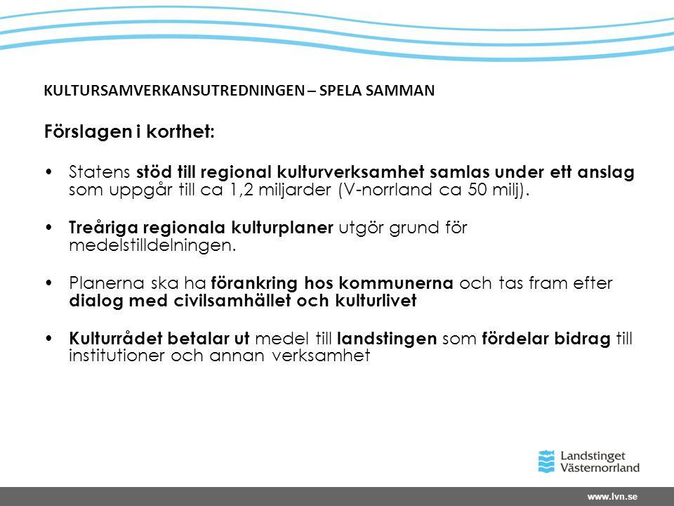www.lvn.se KULTURSAMVERKANSUTREDNINGEN – SPELA SAMMAN Förslagen i korthet: •Statens stöd till regional kulturverksamhet samlas under ett anslag som uppgår till ca 1,2 miljarder (V-norrland ca 50 milj).